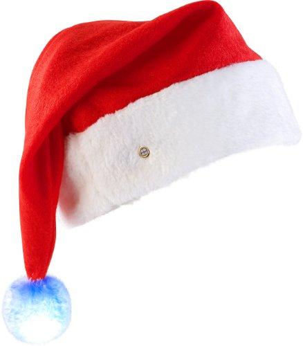 infactory Mütze mit Leucht Bommel: LED-Nikolausmütze mit leuchtendem Bommel, farbwechselnd (Weihnachtsmannmütze)