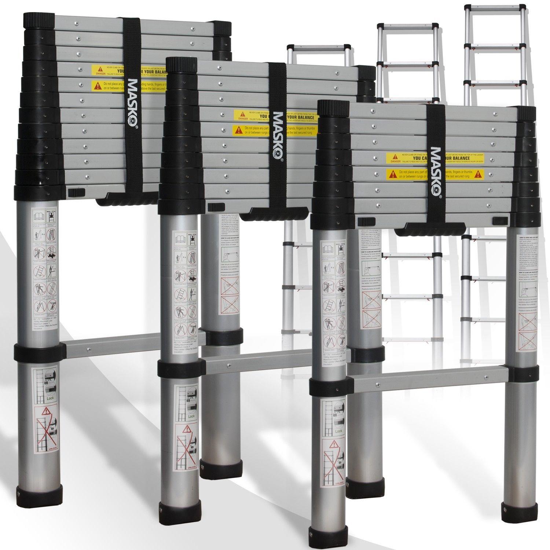 Masko® Teleskopleiter Soft Close 3,20m Aluleiter Anlegeleiter Mehrzweckleiter