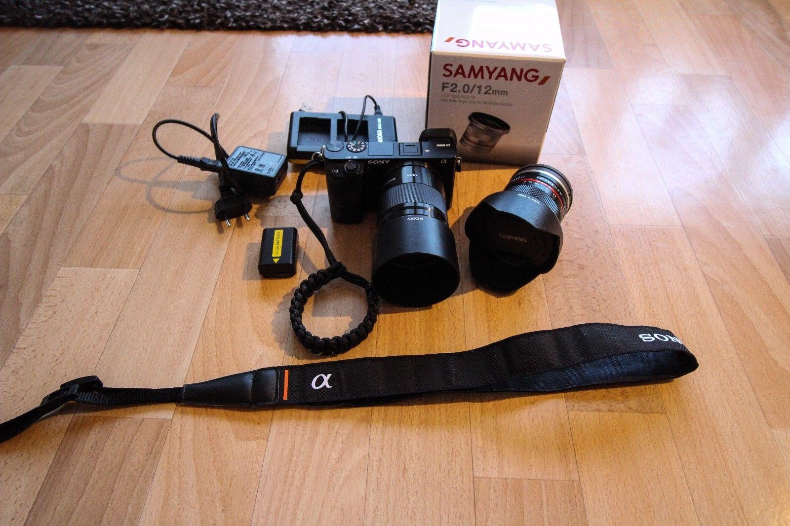 Sony Alpha 6000 - Schwarz mit Sony SEL50F18 & Samyang 12mm F2.0 + Zubehörpaket