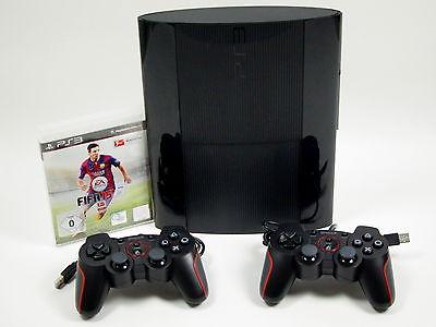 PS3 Sony Playstation 3 Super SLIM Konsole 500 GB + 2 Controller & FIFA 15 ~7412