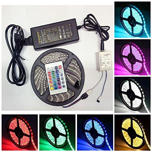 ANKEY Wasserdicht LED Streifen,Farbwechsel, Licht Streifen 5m mit 300 LEDs , Netzteil & Fernbedienung. LED Stripes, Stripe, Lichterkette, Band, Streifen, LED Leiste, LED Lichtleiste, LED Bänder, Lichterkette LED, LED Lichtschlauch