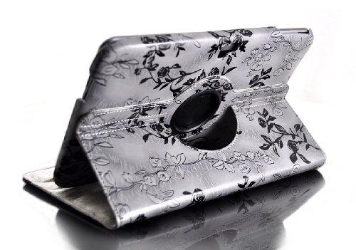 Farbe: grau Blumen Blüten, 360° drehbar ASUS Google Nexus 10 Schutzhülle Tasche Cover Case Hülle Kunstleder PU-Leder