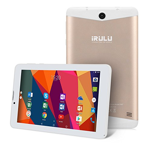 iRULU 7 Zoll Quad Core 1.3 GHz Android 7.0 Nougat Smartphones und Phablets,1GB/16GB IPS 1024x600 Display, Wifi FM GPS Bluetooth Dual Kamera GSM Tablet,GMS Zertifiziert (Gold)