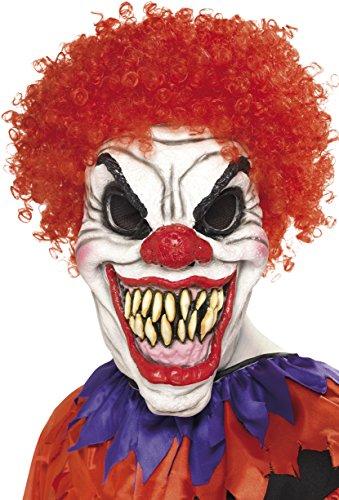 Smiffys, Herren Gruseliger Clown Maske, One Size, Weiß und Rot, 35710