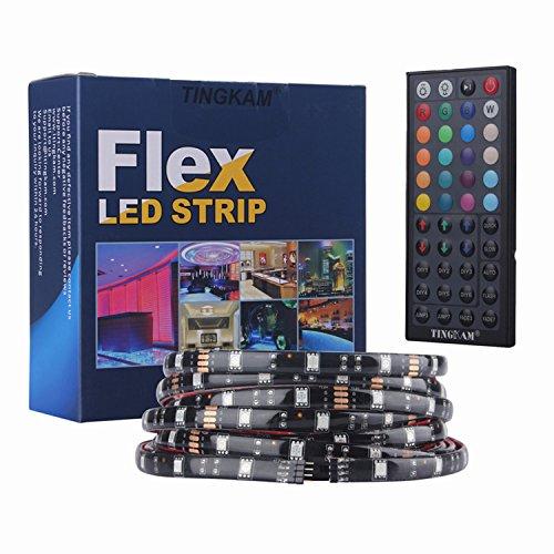 598215b5620647 Tingkam@ 5050 SMD 5m 16.4ft RGB 150 LED Streifen Stripe Licht Lichtband  Lichtstreifen Set Kit wasserdichtes IP44 in Schwarz PCB + 44 Tasten  Fernbedienung + ...
