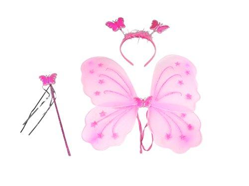Feenkostüm mit Flügeln, Haarreif und Zauberstab - passt auch Erwachsenen (rosa)