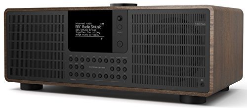 Revo SuperSystem Internet-/DAB+ Radio (Stereo Sound, Internet/DAB+/DAB/UKW,Spotify,WLAN,LAN,Aux In,Line-Out,Kopfhörer Ausgang,inkl. Netzteil) walnuß-schwarz