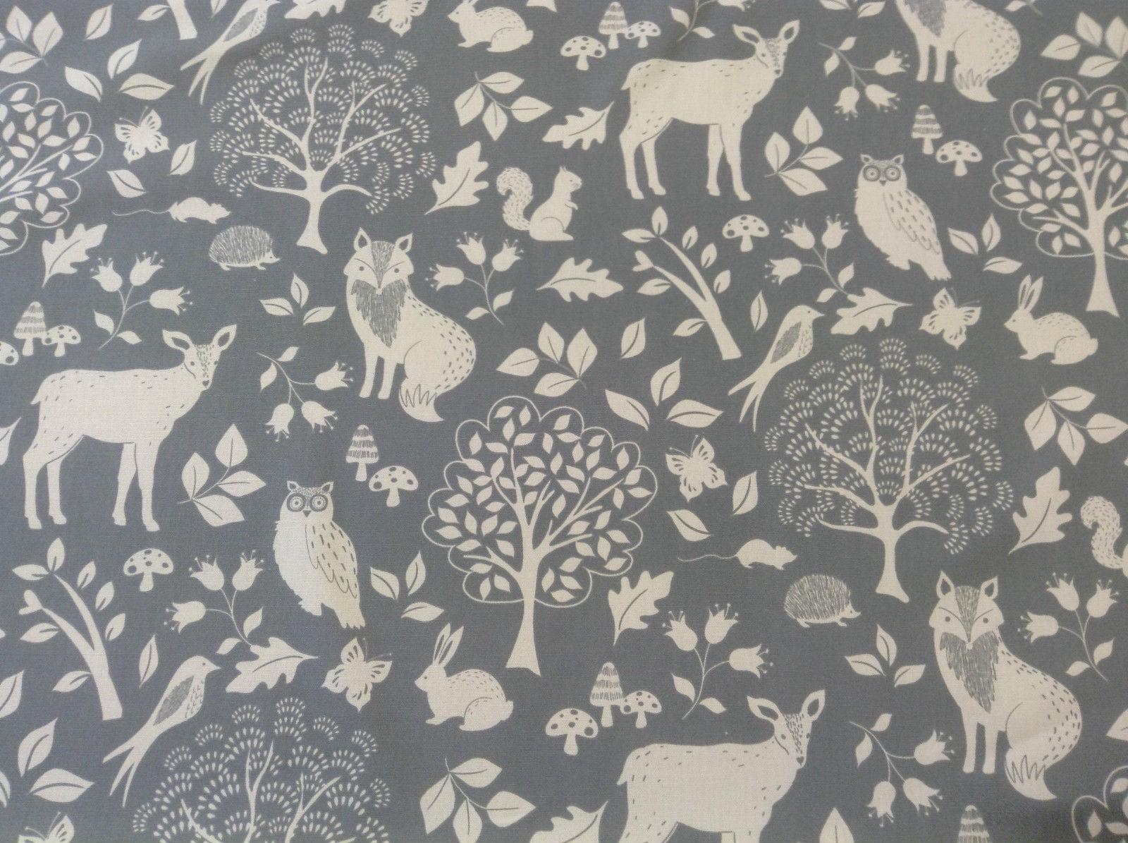 Winter Woodland Animals Fox Stag Owl Pelt Grey Cotton  Curtain/Craft Fabric