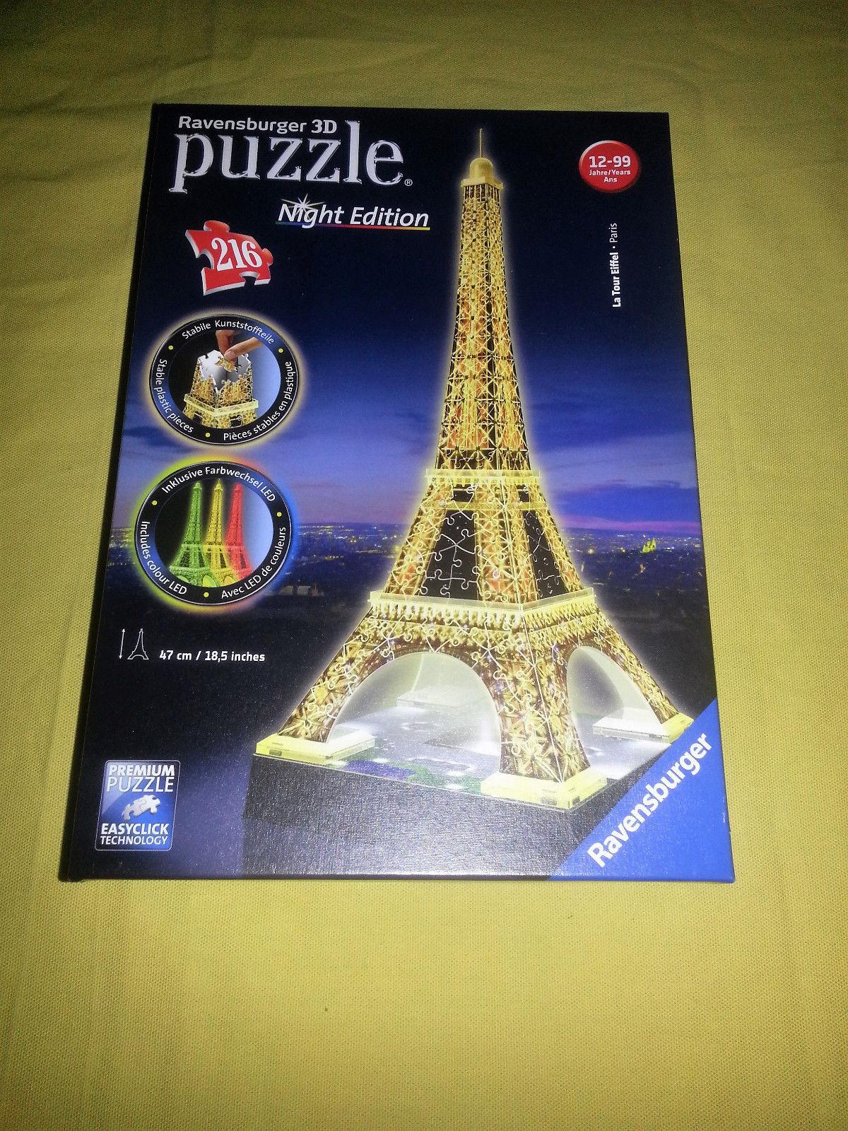 Ravensburger 3d LED Puzzle Eifelturm Night Edition neu,OVP