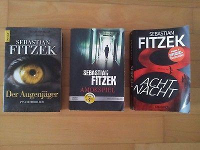 3x Sebastian Fitzek Augenjäger Amokspiel Achtnacht Sammlung Psycho Thriller