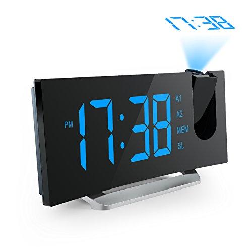 Projektionswecker, Mpow FM Radiowecker/Projektionuhr / Radiowecker mit Projektion/Uhrenradio/digitaler Wecker, Dual-Alarm mit USB-Ladeanschluss, 5'' große LED-Anzeige mit Dimmer, 12/24-Stunden, Datens