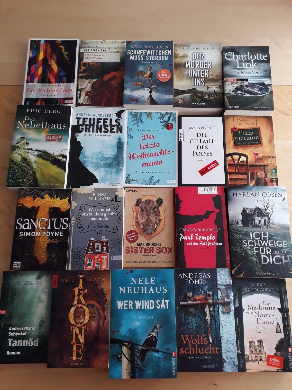 Bücher Paket 20 Taschenbücher Spannung Krimi Thriller buecherpaket