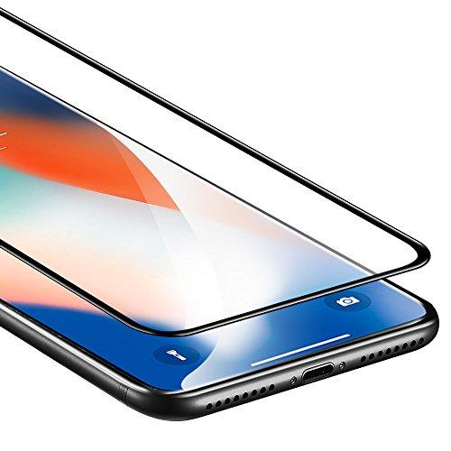 iPhone X Panzerglas, iPhone X Schutzfolie, ESR Premium 9H, 5-Mal verbesserte gehärtetes Glas Folie, [Blasenfrei Selbst-Installation Kit], [3D Touch], Anti-Fingerabdruck für iPhone 10 (5.8 Zoll) Vollständige Folie - Schwarz