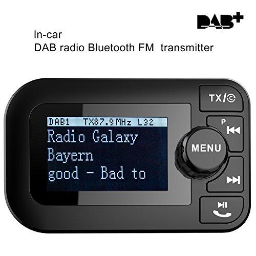 Signstek 5 in 1 Auto DAB + Digital Radio mit Bluetooth FM Transmitter Empfänger und Car Kit / Ladegerät / Micro SD Player / Freisprechfunktion mit aktiver Antenne