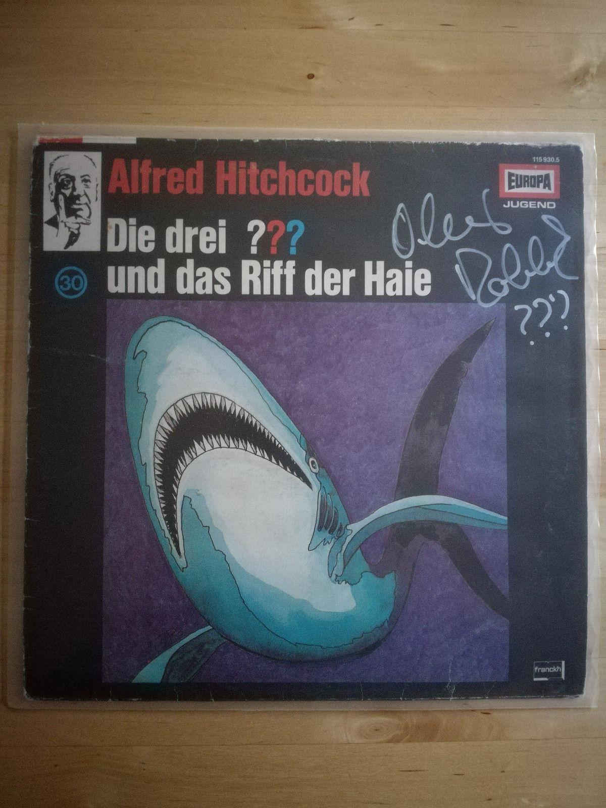 LP, Die Drei Fragezeichen und das Riff der Haie Vinyl LP RAR Handsigniert