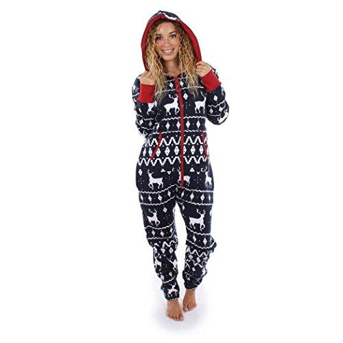 Damen Jumpsuit Pyjamas FORH Frauen Langarm Weihnachten Elch Bedruckt Overall Nachthemden Winter warm lang hoodie Schlafanzüge Hosenanzug Jumpsuit Anzug Sleepwear Overall (M, Marine)