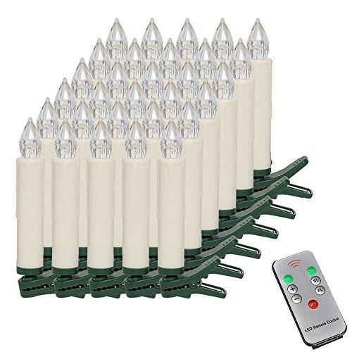MCTECH 30er Warmweiß Weinachten LED Kerzen Kabellose Weihnachtsbeleuchtung Flammenlose Lichterkette Kerzen Weihnachtskerzen  für Weihnachtsbaum, Weihnachtsdeko, Hochzeitsdeko, Party, Feiertag