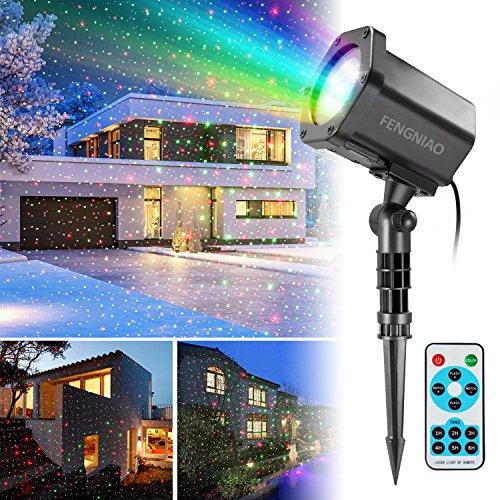 Weihnachts Projektor Licht, FengNiao LED Projektionslampe Außen Fernbedienung für Weihnachten Dekoration led Stimmungslicht, Dynamische Weihnachts Stern Licht