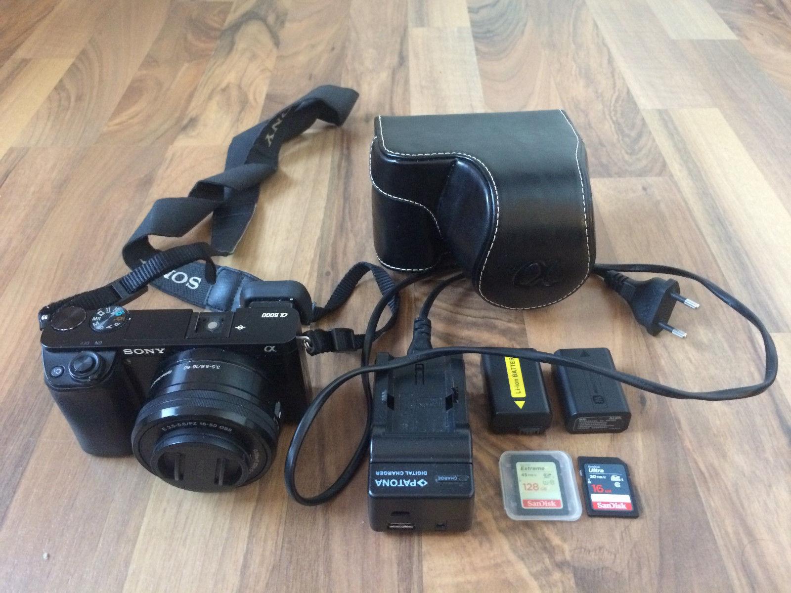 Sony Alpha 6000 ILCE-6000 mit Zubehörpaket Tasche Ladegerät Akku 128GB + 12GB