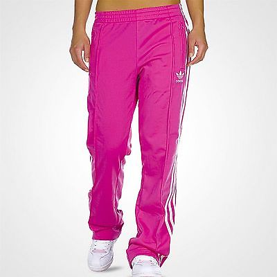 Adidas Women's Firebird TP Bloom Run Pink White Pants Track Gym Bottoms Joggers