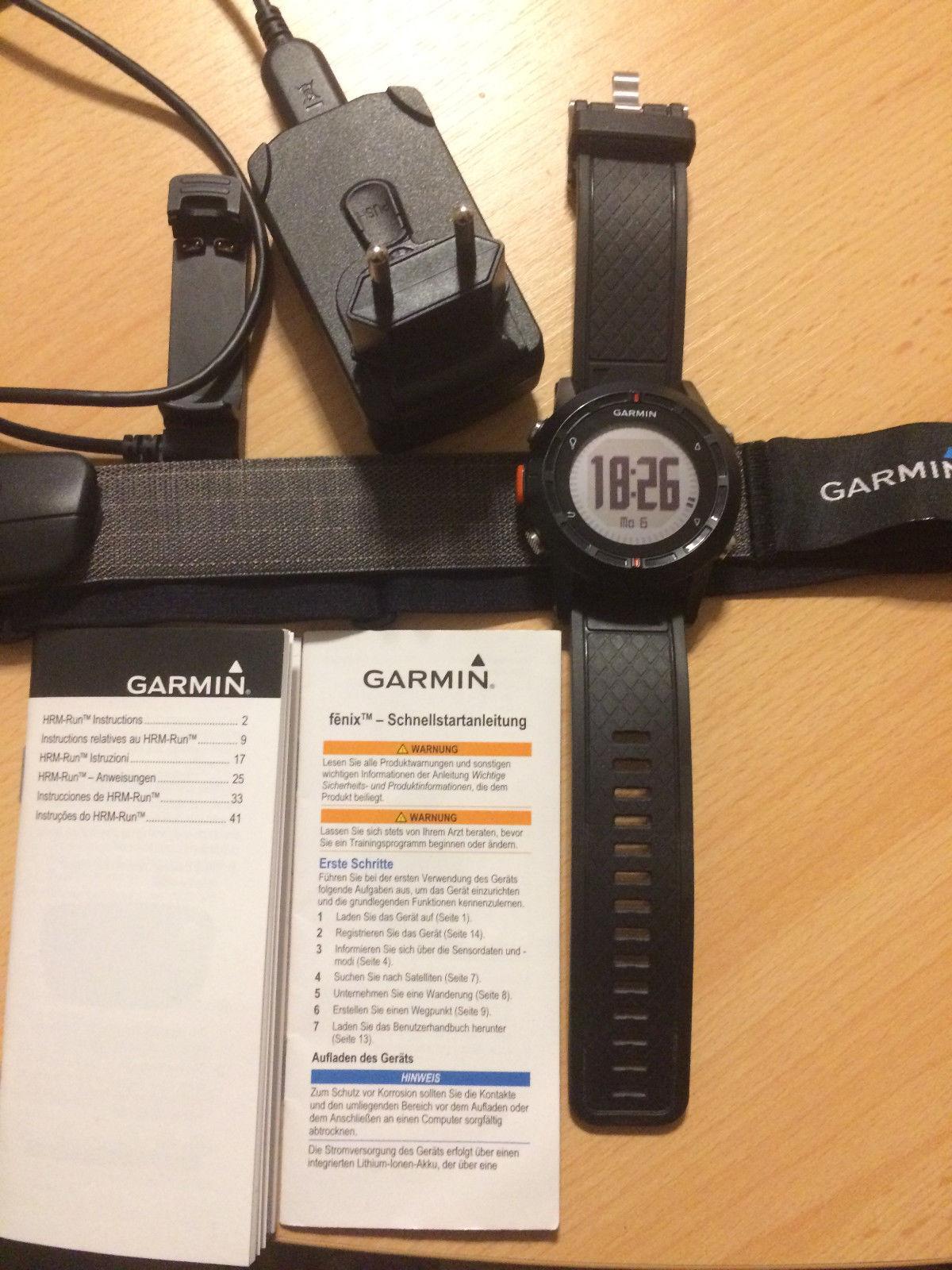 Garmin Fenix GPS Uhr + Garmin Premium Herzfrequenz Brustgurt Grm-run