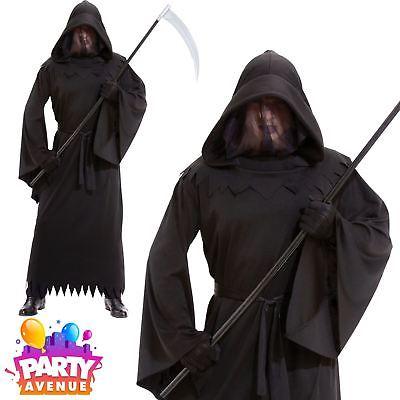 Mens Halloween Grim Reaper Phantom of Darkness Robe Fancy Dress Costume Adult