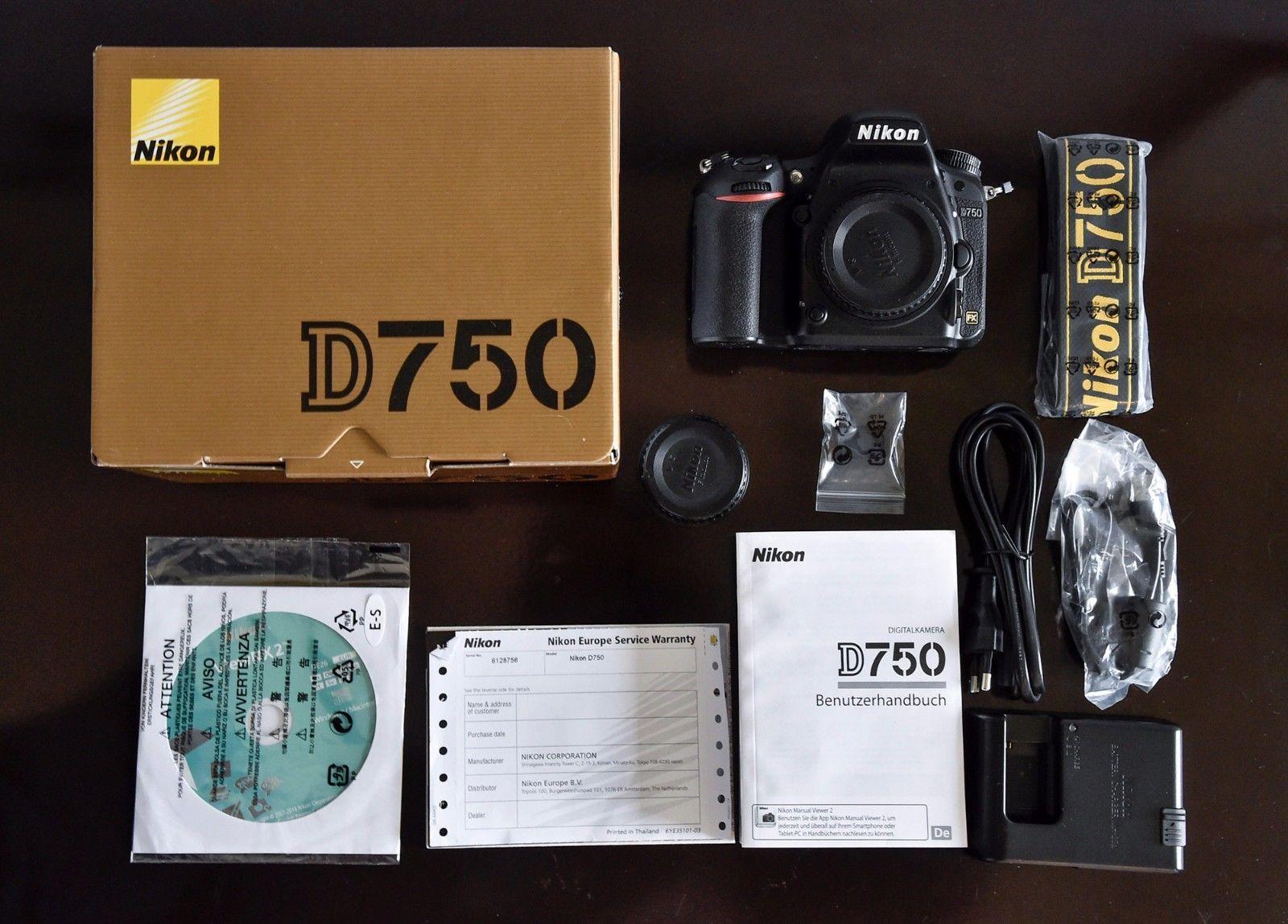 Nikon D750  FX 24,3 MP Vollformatsensor | Gehäuse komplett in OVP mit #1109 Ausl