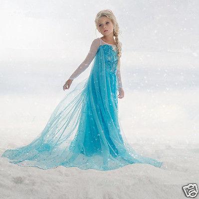 Mädchen Frozen Elsa Anna Perlen Tüll Kleid Kostüm Cosplay Party Dress Eiskönigin