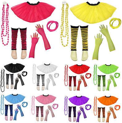 80's Neon UV Tutu Skirt Leg Warmer Gummies Beads Hen Fancy Dress Party Costumes