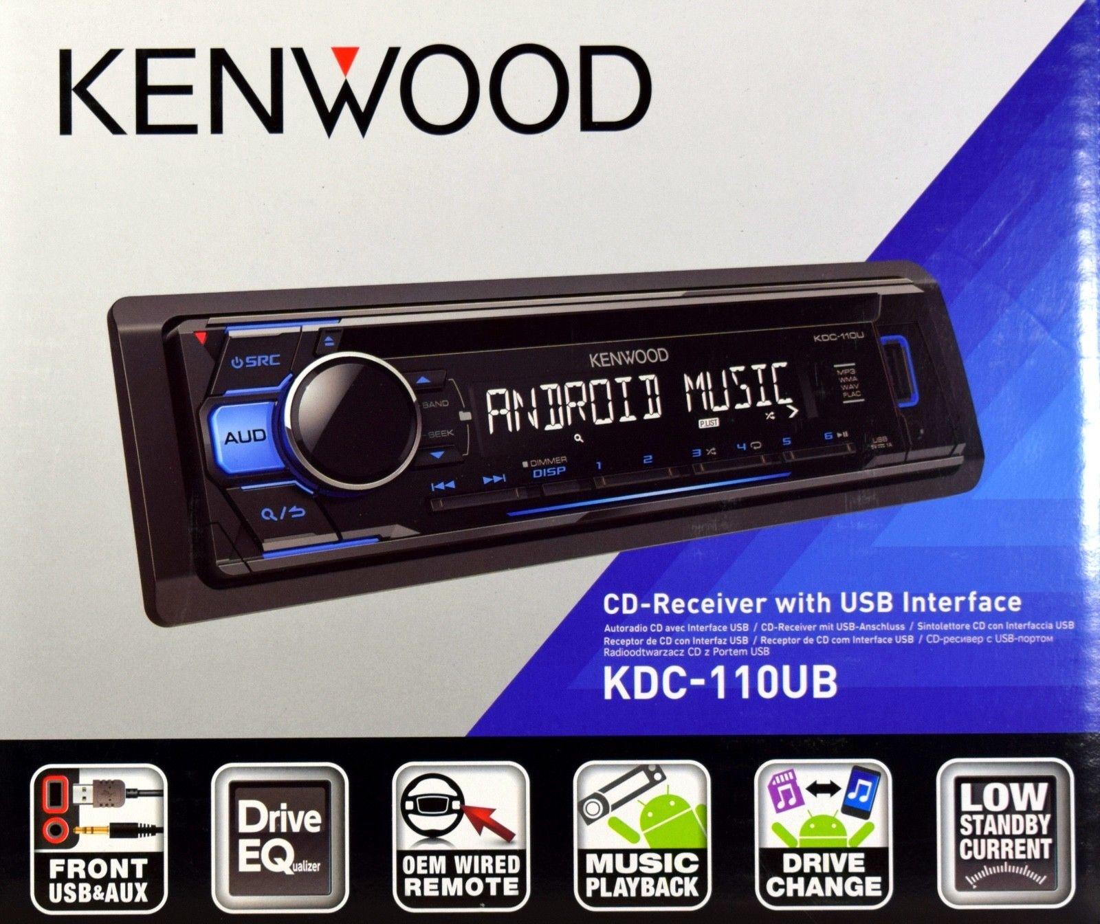 Kenwood KDC-110UB Autoradio CD-Tuner/AUX/USB 1DIN-Gerät/Blau