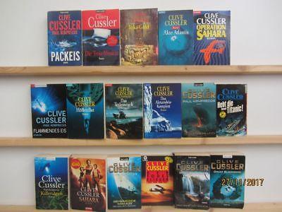 Clive Cussler 17 Bücher Romane Krimi Thriller Psychothriller Kriminalromane