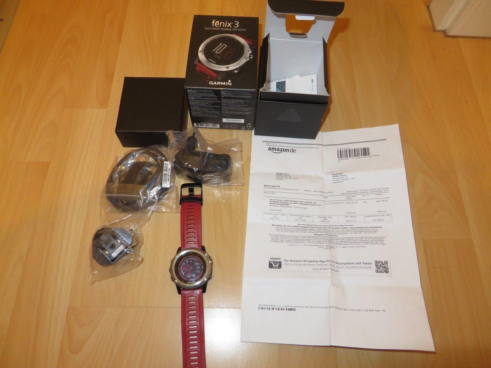 Garmin fenix 3 GPS-Multisportuhr, rotes Band, Bluetooth, WLAN, 2 Jahre alt