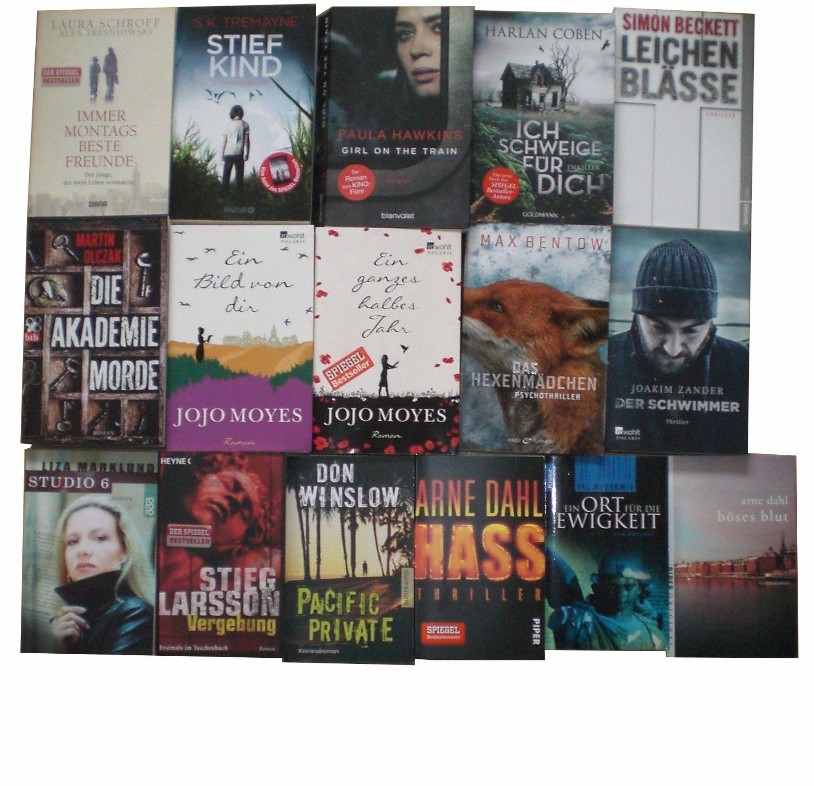 Taschenbücher, 16 Stück- SIMON BECKETT / JOJO MOYES / ARNE DAHL / J. ZANDER