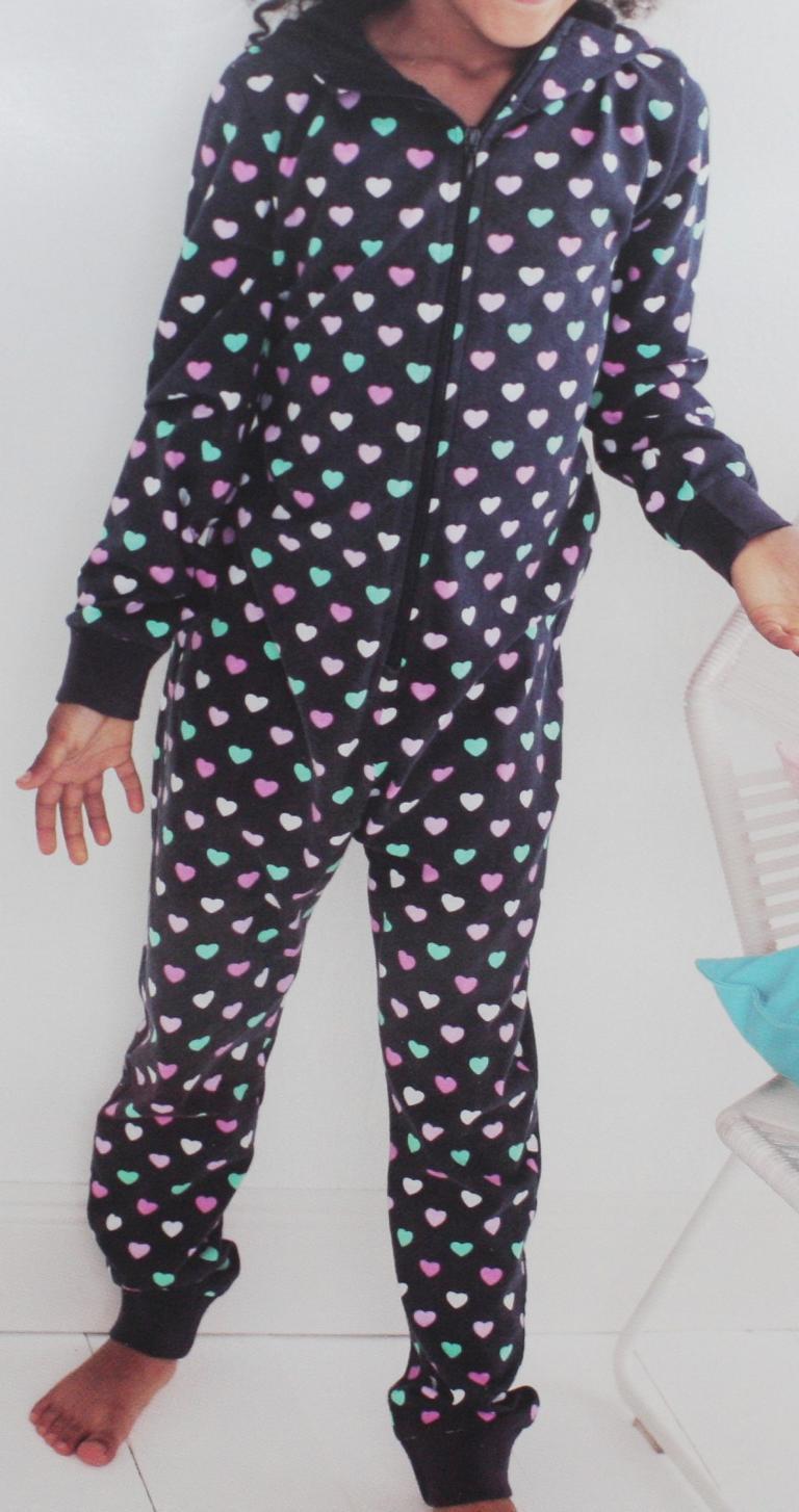 Kinder Jumpsuit mit Kapuze Schlafanzug Pijama  gr 146/152