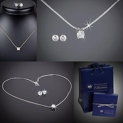 Diamant CZ Set Hals-Kette Ohrschmuck +Etui/ verziert mit Swarovski® Kristall #94