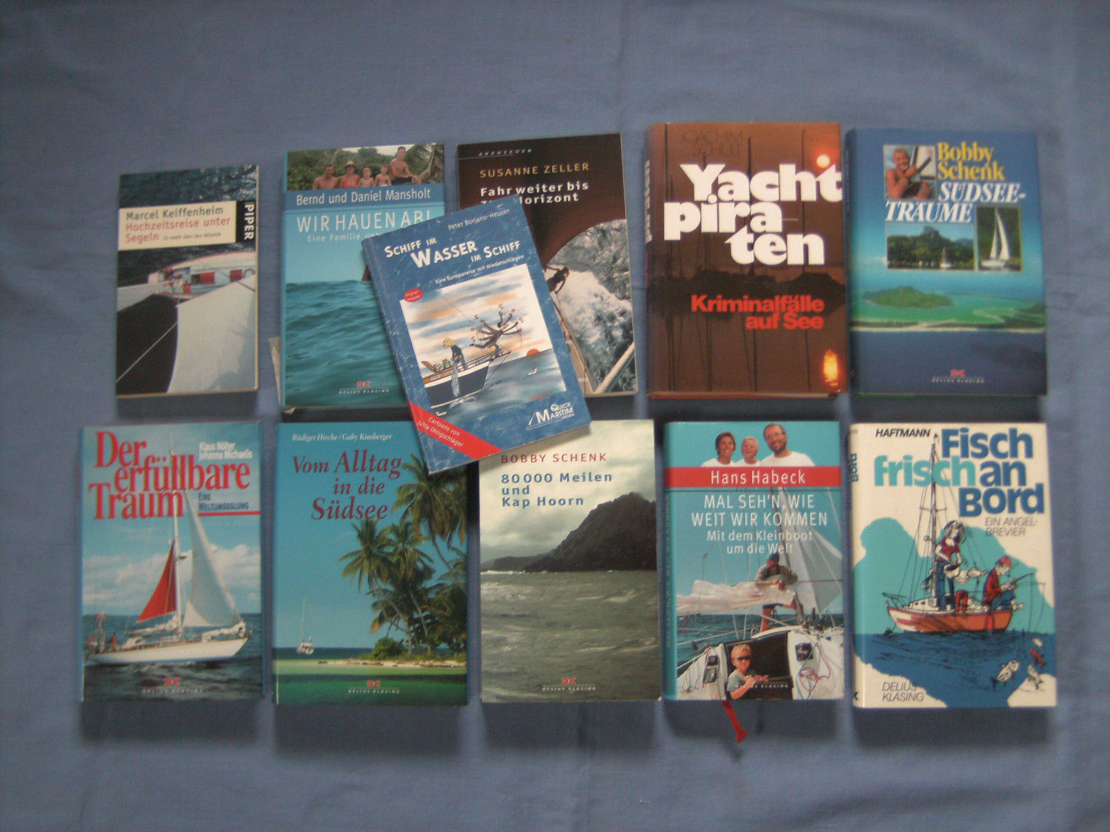 Segelbücher von Bobby Schenk, Keiffenheim, Zeller, Mansholt, Schult, Habeck