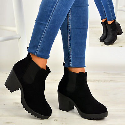 New Womens Ankle Chelsea Boots Chunky Block Heels Platform Shoes Size Uk 3-8