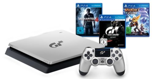 SONY PlayStation 4 PS4 silber 1TB GT Sport Limited Edition + 3 weitere Spiele