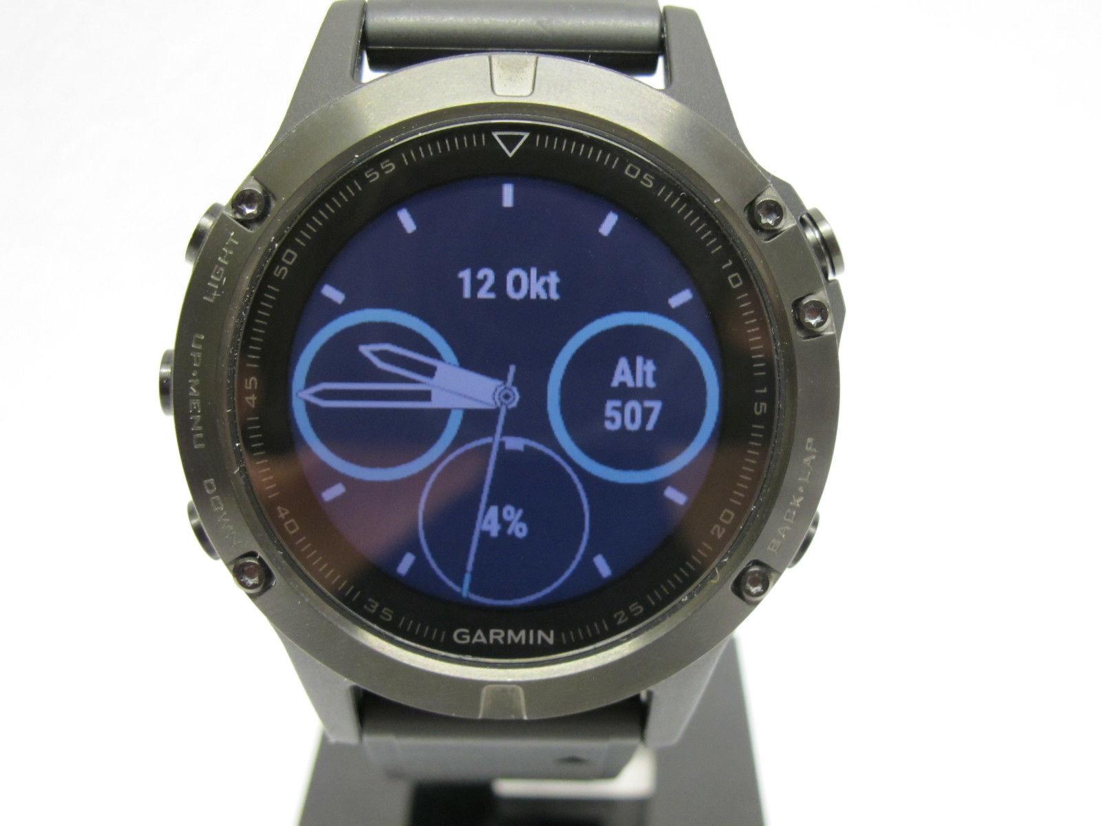 Garmin FENIX 5 GPS Smartwatch Sahpire Glas Schwarz Multisport Uhr 47mm