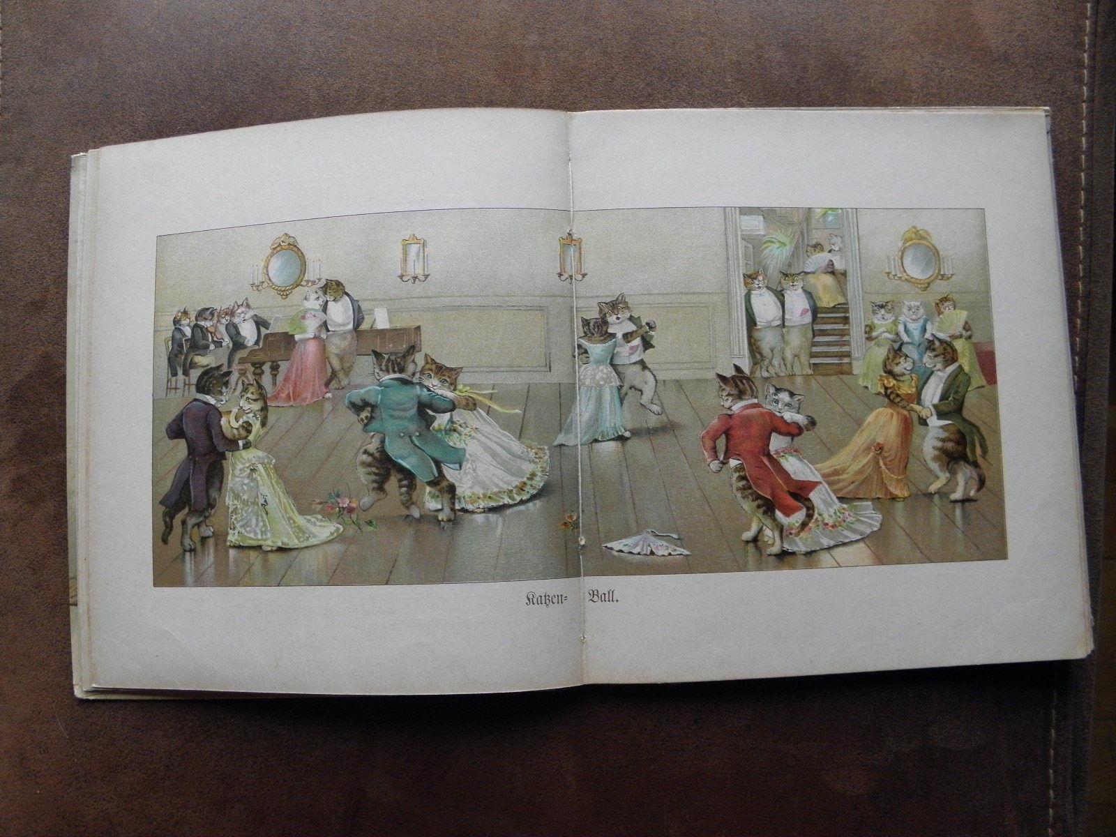 1900 Kinder Bilderbuch von Therese Schefer Katzen Puppen Schweinchen Top Zustand