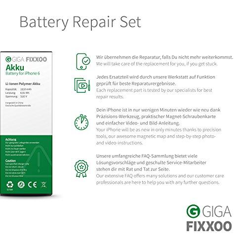 GIGA Fixxoo iPhone 6 Akku im Komplettset Ersatz zum Wechseln und Tauschen bei Defekter Batterie