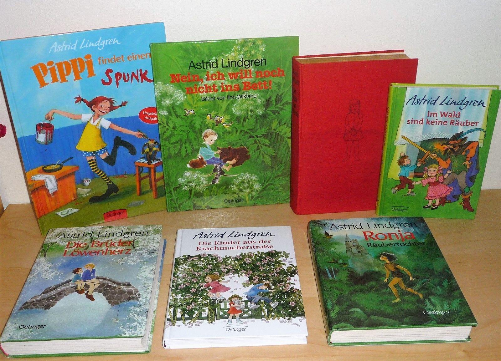Sammlung 7 Bücher Astrid Lindgren Ronja Brüder Löwenherz Krachmacherstraße Pippi