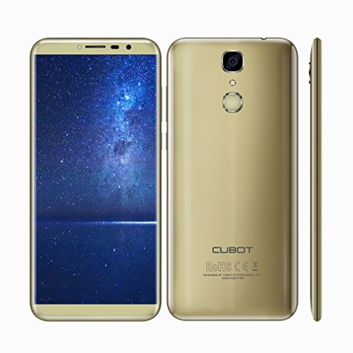 Cubot X18 4G Smartphone, Android 7.0,5.7 Zoll, MT6737T 1.5GHz Quad-Core, 3GB RAM 32GB ROM, Dual SIM ,dual Kamera, 3200mAh, Fingerprintsensor ID (Gold)