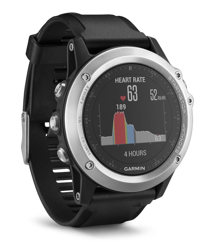 GARMIN fenix 3 HR, GPS Multisportuhr, 238 mm, Silikon, Schwarz/Silber