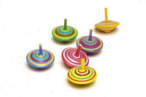 Spielzeugkreisel aus Holz, 6er Set mit farbenfroher Bemalung und verschiedenen Mustern bieten einen tollen Effekt beim Drehen