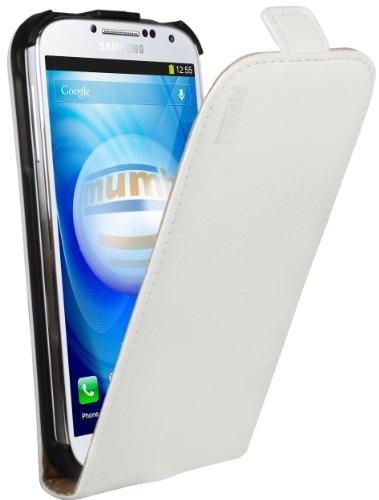 mumbi PREMIUM Leder Flip Case für Samsung Galaxy S4 Tasche weiss