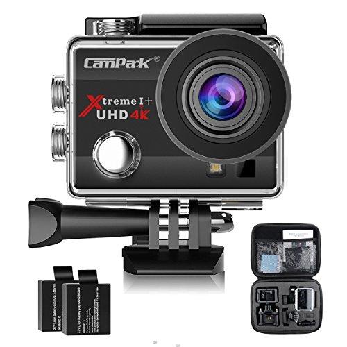 Campark ACT74 Action Kamera WIFI 1080P Sports Cam 4K Camera 16MP Ultra Full HD Helmkamera wasserdicht 170 ° Weitwinkel mit 2 Batterien Transporttasch