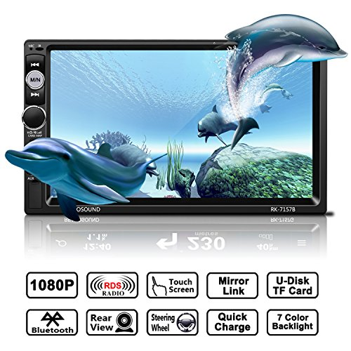 Auto Radio MP5 Spieler, OCDAY Universal 7'' 2 Din FHD 1080P Touchscreen Bluetooth USB/ TF/ FM/ AM/RDS radio tuner/ Aux in/ Mirrorlink Auto Radio Audio Multimedia MP5 Spieler mit Rückfahrkamera