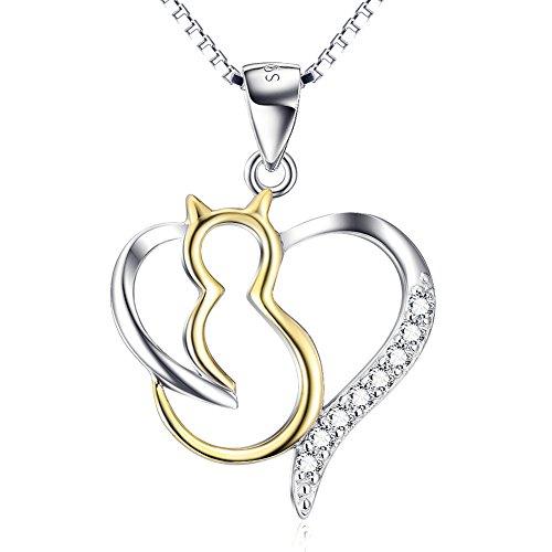 YFN Katze Kette Damen Schmuck 925 Sterling Silber Herz Katze Anhänger Halskette, 45 cm