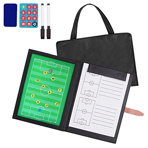 Professional Faltbares Fußball Taktiktafel und Tasche (mit Textmarker, Radiergummi, Magnete), Fußball Magnetic Coach Board , von AGPTEK